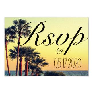 Sonnenuntergang-Strand-Palme-Hochzeit UAWG Karte