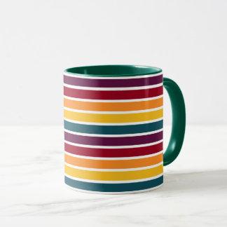 Sonnenuntergang Stripes dunkelgrüne kombinierte Tasse