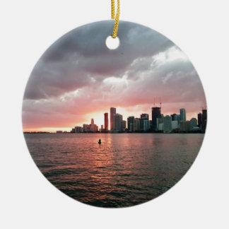 Sonnenuntergang über Miami Keramik Ornament