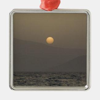 Sonnenuntergang über Paros Inselbergen Silbernes Ornament