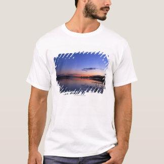 Sonnenuntergang über See Wabamun mit Gras T-Shirt