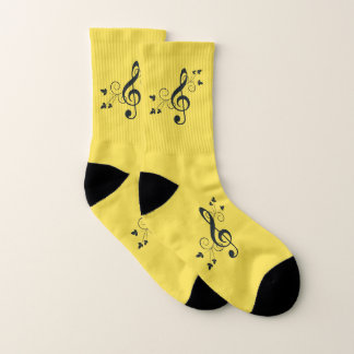 Sonnige gelbe Musikdreifacher Clef-Socken Socken