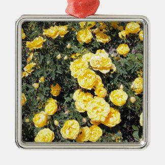 Sonniger gelber Rosen-Blumen-Bus Silbernes Ornament