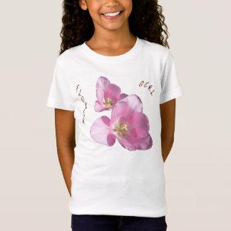 Sonniger rosa Tulpe-Blumen-Mädchenbabydoll-T - T-Shirt