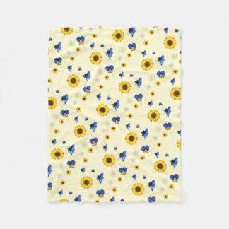 sonniges Blumen Fleecedecke