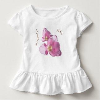 Sonniges rosa Tulpe-Blumen-Mädchen-Rüsche-T-Stück Kleinkind T-shirt
