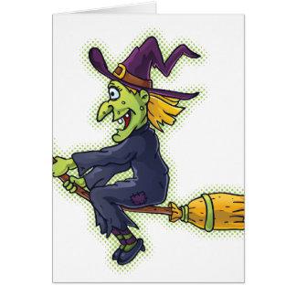 Sorcière de Halloween sur un balai Carte De Correspondance