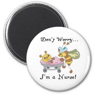 Sorgen Sie sich nicht mich sind eine Krankenschwes Runder Magnet 5,7 Cm