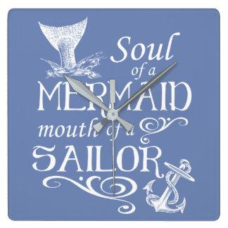 Soul einer Meerjungfrau, Mund eines Seemanns Quadratische Wanduhr