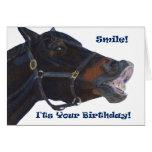 Sourire !  C'est votre anniversaire ! Cheval Carte De Vœux