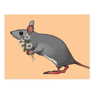 Souris apportant des fleurs, marguerites : Art Carte Postale