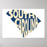 South- CarolinaStaats-Namen-Wort-Kunst-Gelb Poster