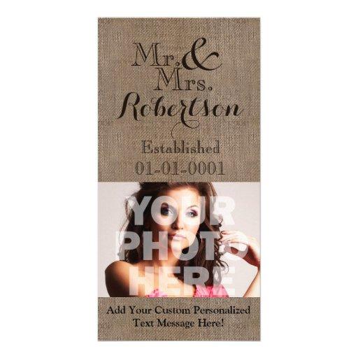 Souvenir rustique personnalisé de mariage de Toile Photocartes