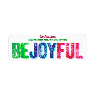 Soyez coutume colorée joyeuse d'impression étiquette d'adresse retour