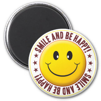 Soyez smiley heureux magnet rond 8 cm