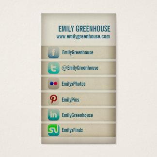Sozialmediumgeschäftskarte Facebook Twitter Visitenkarte