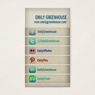Sozialmediumgeschäftskarte Facebook Twitter Visitenkarten