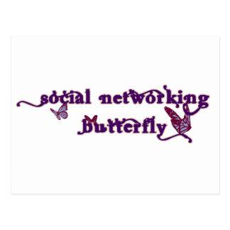 Sozialvernetzungs-Schmetterling Postkarte