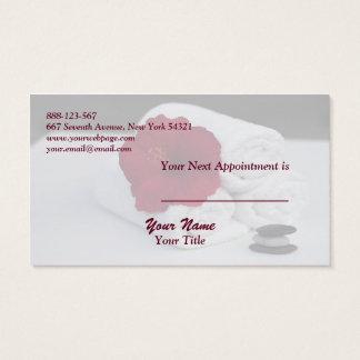 Spa Salon Massage Towels Hibiscus Appointment Card Visitenkarte