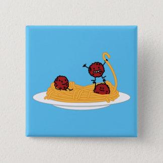 Spaghetti- und Fleischklöschenteigwarennudeln Quadratischer Button 5,1 Cm