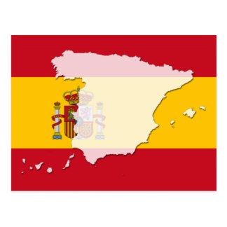 Spanien-Flaggenkartenpostkarte Postkarte