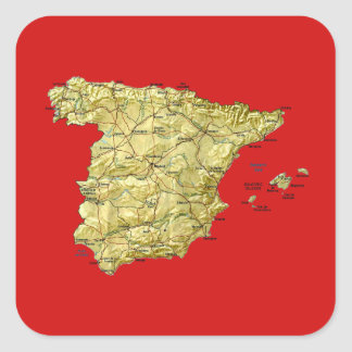Spanien-Karten-Aufkleber Quadratischer Aufkleber