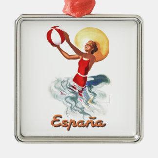 Spanien-Strand-Reise-Plakat 1940 Silbernes Ornament