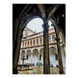 Spanische Bögen in Santiago de Compostela Poster