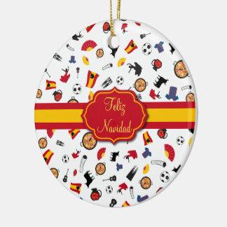 Spanische Flagge Feliz Navidad Verzierung Keramik Ornament