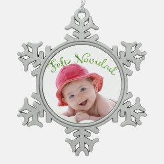 Spanisches frohe Weihnacht-Foto Schneeflocken Zinn-Ornament