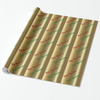 Spanisches Weihnachtsgrün-Rot auf GoldPackpapier Geschenkpapier