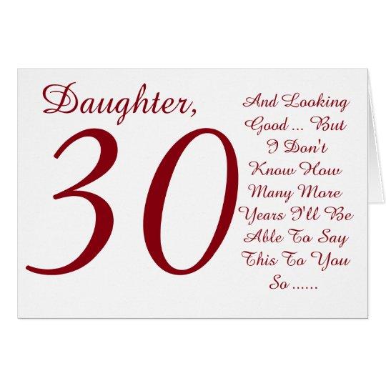 Spaß, 30. der Tochter, Roten und weißen Text des Karte