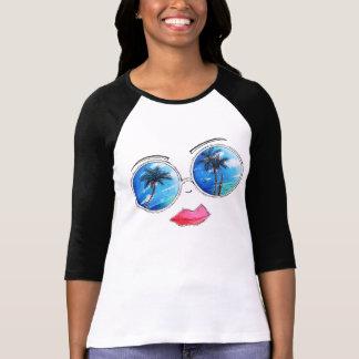 Spaß-Beachy Kunst-tropischer Sonnenbrille-T - T-Shirt