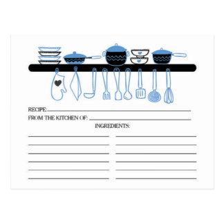 Spaß-blaue Küchen-Gerät-Brautrezept-Karten Postkarte