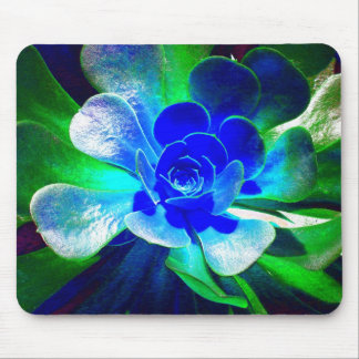 Spaß-blaue und grüne Kunst-Blume Mousepad