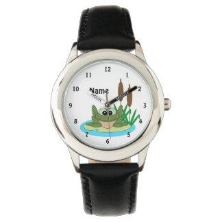 Spaß-Cartoon-Frosch-Uhr Uhr