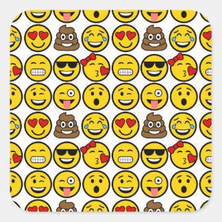 Spaß Emoji Muster-Gefühl-Gesichter Quadratischer Aufkleber