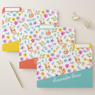 Spaß-Fox- und Blumen-Muster personalisiert Papiermappe