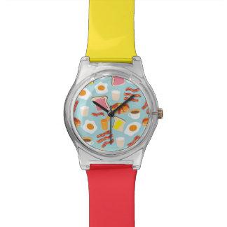 Spaß-Frühstücksnahrung-Illustrations-Muster Armbanduhr