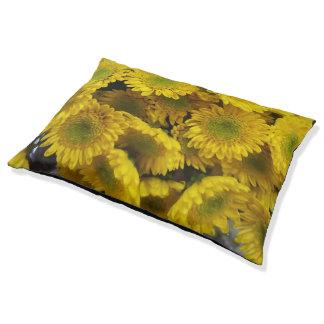 Spaß-gelbe Blumen drucken großes Hundebett Haustierbett
