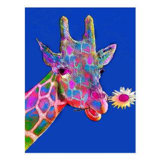 Spaß-Giraffen-Sonnenblume-Farben Postkarte