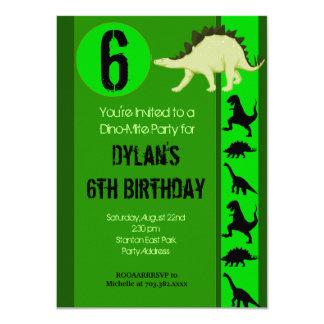 Spaß-grüner Dinosaurier-Geburtstags-Party Karte