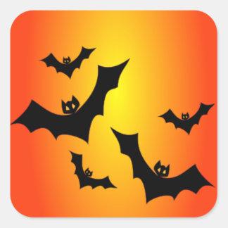 Spaß-Halloween-Schläger auf Gelbem u. Orange Quadratischer Aufkleber
