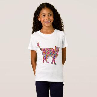 Spaß-helle bunte dynamische Herz-gefüllte Katze T-Shirt
