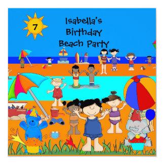 Spaß-Kindergeburtstag-Party-Strand-Party Quadratische 13,3 Cm Einladungskarte