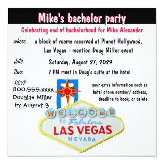 Spaß-Las- Vegasjunggeselle-Party Quadratische 13,3 Cm Einladungskarte