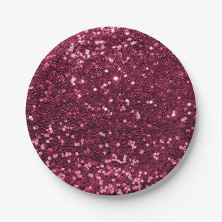 Spaß-magentaroter rosa Imitat-Glitter-Schein-Druck Pappteller