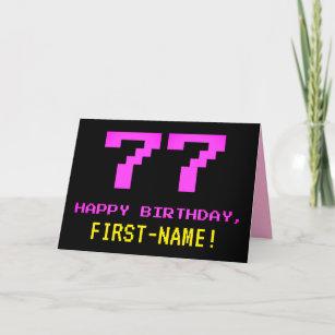 Spaß, Nerdy, Geeky, Pink, 8-Bit Stil 77. Geburtst Karte