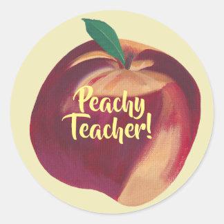 Spaß - pfirsichfarbener Lehrer - Runder Aufkleber