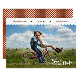 Spaß-Polka-Punkt-Bürsten-Skript-Foto Save the Date Karte